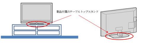 該当しない設置例:製品付属のテーブルトップスタンド使用