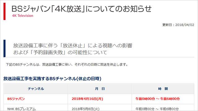 「アイカツ」の予約録画失敗に注意せよ!BSジャパンが設備工事で4月16日(月)深夜に放送を休止。