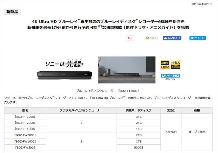 4K Ultra HD ブルーレイ再生対応のブルーレイディスクレコーダー6機種を新発売