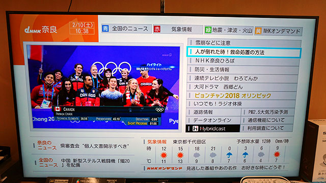 NHK総合のデータ放送が表示されます