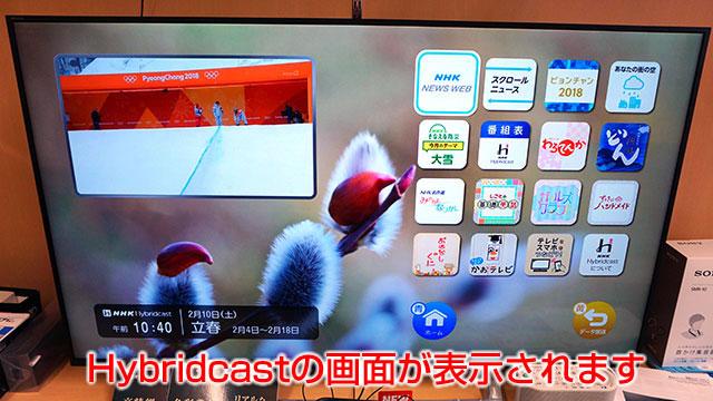 Hybridcastの画面が表示されます