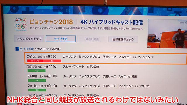 NHK総合と同じ競技が放送されるわけではないみたい