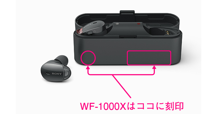 WF-1000Xはケースに刻印