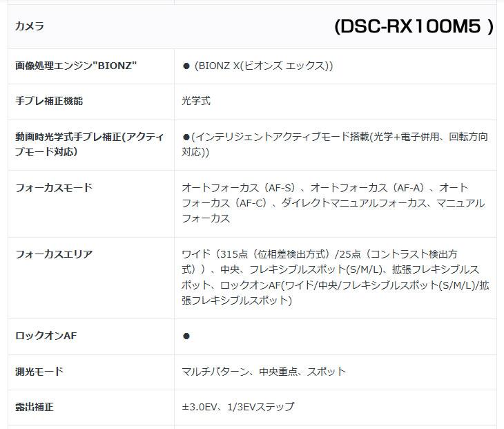 DSC-RX100M5 フォーカスエリア、側光モード