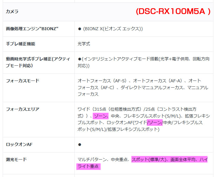 DSC-RX100M5A フォーカスエリア、側光モード