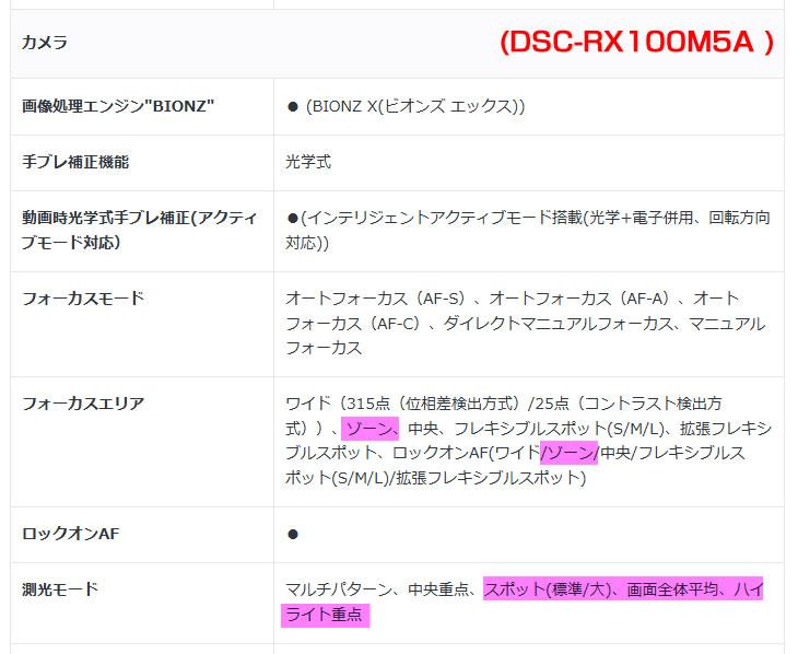 DSC-RX100M5A フォーカスエリア、側光モード