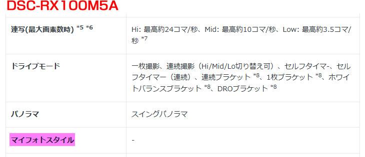 DSC-RX100M5A マイフォトスタイル廃止