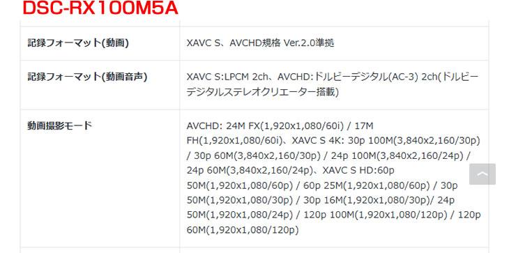 DSC-RX100M5A 記録フォーマット(動画)からMP4形式がなくなる