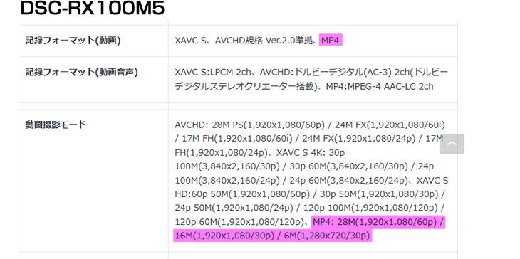 DSC-RX100M5の記録フォーマット