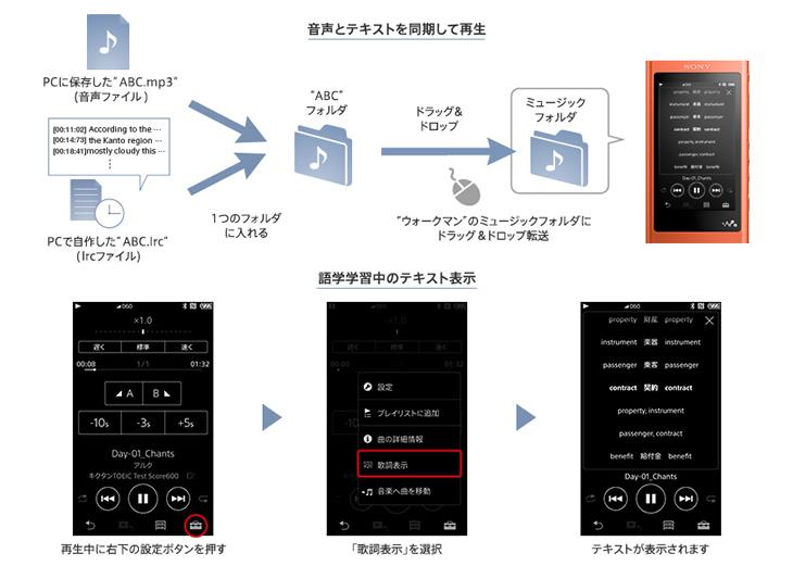 テキストファイルを自作して音声と同期再生が可能