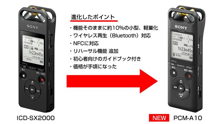 PCM-A10がICD-SX2000から進化した部分