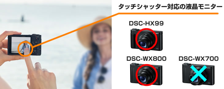 液晶画面をタッチしてシャッターが切れるのは、DSC-HX99とWX800